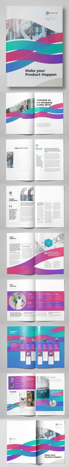 Creative Business Brochure Template (24 Pages) #brochuretemplate #catalogdesign #booklet #annualreport #printdesign #psdtemplate