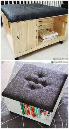 SO IN LOVE! DIY Storage Ottoman made of wooden crates with awesome fabric. This is a must do craft project. Wooden Crate Coffee Table, Wooden Crate Furniture, Wooden Crate Shelves, Diy Wooden Crate, Wood Crates, Wooden Boxes, Diy Furniture, Wall Shelves, Diy Storage Ottoman Coffee Table