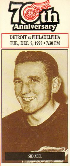Sidney Gerald Abel (February 22, 1918, Melville, Canada – February 8, 2000) was a Canadian professional hockey player and later coach in the National Hockey League. His playing career spanned from the 1938–39 season until the 1953–54 season, playing for both the Detroit Red Wings and Chicago Black Hawks and was a member of three winning Stanley Cups in 1943, 1950, and 1952 with the Detroit Red Wings.
