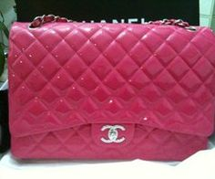 731a05d7ecf2 CHANEL Maxi Jumbo Patent leather in FUCHSIA with silver chain brand new - SOLD-