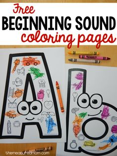 "These FREE beginning sounds coloring pages are a great beginning sounds activity for preschool or kindergarten. use for beginning sound and also colors: ""what color are you going to color the ____? Preschool Letters, Learning Letters, Preschool Kindergarten, Preschool Learning, Toddler Preschool, Preschool Letter Worksheets, Letters Kindergarten, Letter Recognition Kindergarten, Kindergarten Coloring Pages"
