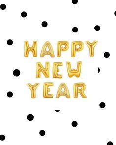 16 gold HAPPY NEW jaar ballonnen/banner van thehappyelfshop op Etsy