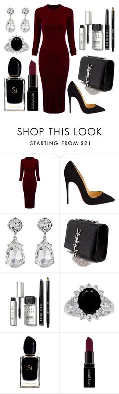 """Untitled #108"" by rodoulla97 on Polyvore featuring WithChic, Christian Louboutin, Kenneth Jay Lane, Yves Saint Laurent, Bobbi Brown Cosmetics, Giorgio Armani, Smashbox, women's clothing, women's fashion and women"