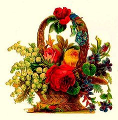 Die Cut Basket of Roses and Flowers | Flickr - Photo Sharing!