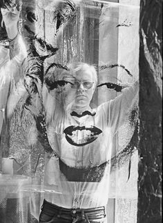 Andy Warhol behind Marilyn Monroe Silk  Screen.