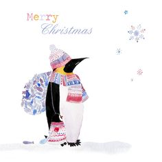 christmas card penguin carrying fish