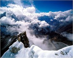 Amazing beauty! Snowy mountains, blue sky, clouds, breathtaking, beautiful, panorama, picture, landscape, photo.