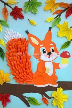 """""""Squirrel on a branch"""" in the technique of volumetric application for birthday party - ArtsyCraftsyDad Paper Crafts Origami, Paper Crafts For Kids, Preschool Crafts, Diy And Crafts, Arts And Crafts, Fall Crafts, Easter Crafts, Make Up Art, Art For Kids"""