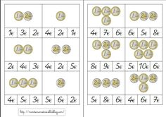 Cartes à choix multiples : euros Montessori Classroom, Math Classroom, Classroom Activities, Choix Multiple, Montessori Materials, Math For Kids, Teaching, School, Cycle 2
