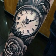 Meleili | #Clockandroses #time #old #realistic #blackAndWhite #like4like | Tattoodo