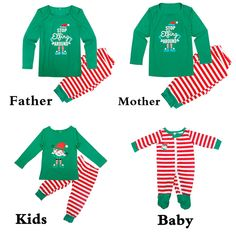 Christmas Pajamas Family Look Matching Outfits Mother Daughter Father Son  Cotton Clothes Long Sleeve Striped Pyjamas 49b91a987
