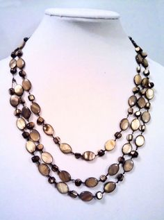 Brown Mother of Pearl 3 Strand Statement Necklace #Mixit #Statement