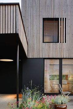 Villa B by Tectoniques Partial timber cladding Wood clad .-Villa B by Tectoniques Partielle Holzverschalung Holzverkleidung Stäbe Leisten …, Villa B by Tectoniques Partial wood cladding Wood cladding strips strips …, cladding cladding facade - Larch Cladding, Timber Battens, House Cladding, Exterior Cladding, House Facades, Wood Architecture, Residential Architecture, Architecture Details, Minimalist Architecture