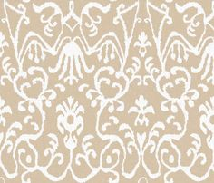 Lucette Ikat Floral in Natural fabric by sparrowsong on Spoonflower - custom fabric