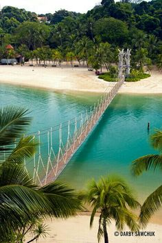 Suspension bridge at Palawan Beach on Sentosa Island, Singapore