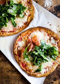 whole wheat tortilla pizzas with arugula + prosciutto.