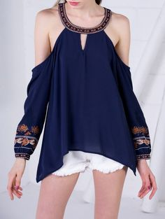 SHARE & Get it FREE | Embroidered Cold Shoulder Blouse - Purplish BlueFor Fashion Lovers only:80,000+ Items • New Arrivals Daily Join Zaful: Get YOUR $50 NOW!