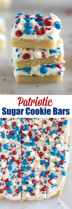 Add some American pride to your summer bbq or potluck with these easy Patriotic Sugar Cookie Bars! They're thick, soft and chewy Fourth of July cookies decorated with red, white and blue sprinkles and candy. #fourthofjuly #cookies #dessert #bars #redwhiteblue #memorialday #patriotic #cookies #sugarcookies via @betrfromscratch