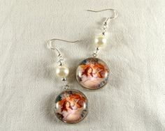 Drop earrings ,retro style photo ,glass cabochons and silver tone findings by CapricesDeParisienne on Etsy