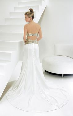 Strapless and (nearly) backless wedding gown with metallic sash. Allure Bridal Style 8411