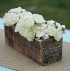 wood box with white roses