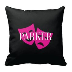 Our custom drama mask throw pillow with your monogrammed name is perfect for your bedroom or dorm room.  You can customize it with the colors of your choice or choose the black, white and hot pink colors shown.  This unique, custom accent pillow will make the perfect gift or Christmas present for the special girl or teen in your life.