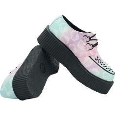 Hello Kitty? Ombre Mondo Sole Creepers ($90) ❤ liked on Polyvore featuring shoes, ombre shoes, hello kitty, hello kitty footwear, hello kitty shoes and creeper shoes