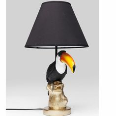 Contemporary Heaven offers unusual lamps including this Toucan colourful lamp with black shade for sale to buy online UK Handmade Lamps, Black Table Lamps, Pretty Birds, Fabric Shades, Shades Of Black, Home Accessories, Anthropologie, Bulb, Colours