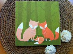 fox family nursery decor. woodland creatures in green by lulufroot, $30.00