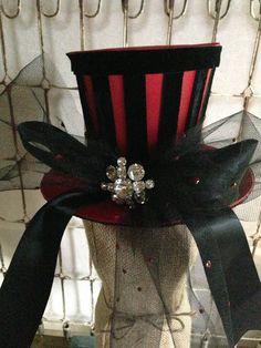 Vintage Rhinestone Brooch Red Top Hat