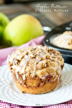 Apple Butter Streusel Muffins - bakery-style muffins with a layer of streusel and a ribbon of apple butter inside