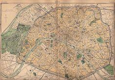Paris map, circa 1880 *The Graphics Fairy LLC*: Old Map of Paris - 1888 Paris Map, Old Paris, Paris France, France Map, Vintage Maps, Antique Maps, Vintage Ephemera, Vintage Clip, Vintage Prints