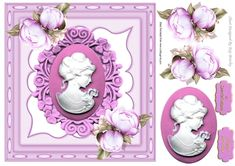 pretty cameo lady with pink roses in ornate frame, makes a pretty card