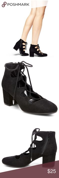 Black lace up heels Worn four times. Super cute. Not from listed brand. Francesca's Collections Shoes Heels