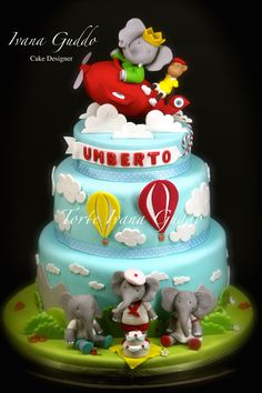 Babar Elephant aviator cake