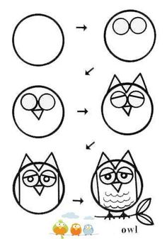 Drawing Tips Cats Drawing Lessons For Kids, Art Drawings For Kids, Doodle Drawings, Cartoon Drawings, Animal Drawings, Doodle Art, Art Lessons, Art For Kids, Owl Doodle