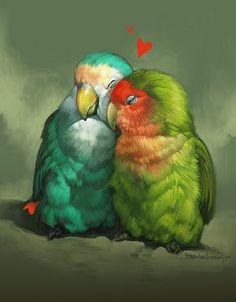 birdie love Love Birds Drawing, Love Birds Painting, Animal Drawings, Art Drawings, Budgies, Parrots, Bird Artwork, Tropical Art, Watercolor Bird