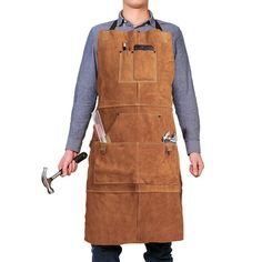 Leather Work Shop Apron with 6 Tool Pockets by QeeLink - Heat & Flame Resistant Heavy Duty Welding Apron, x Adjustable M to XXL for Men & Women (Brown) Grill Apron, Bbq Apron, Leather Working, Metal Working, Real Leather, Welding Apron, Tool Apron, Folding Workbench, Mobile Workbench