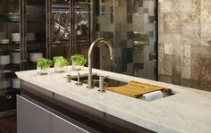 Pot storage: Kohler Design Center, by kitchen designer Mick De Giulio, Kitchen Countertop Materials, Concrete Kitchen, Kitchen Countertops, Kitchen Units, Kitchen Ideas, Interior Design Inspiration, Room Inspiration, Pot Storage, Kitchen Gallery