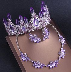 Noble Purple Crystal Bridal Jewelry Sets Necklaces Earrings Crown Tiaras Set African Beads Jewelry Set Wedding Dress Accessorie,purple tiara by UStiaracrown on Etsy Wedding Dress Accessories, Wedding Jewelry Sets, Jewelry Accessories, Purple Wedding Jewelry, Purple Accessories, Purple Jewelry, Royal Jewelry, Tiffany Jewelry, Gold Jewelry