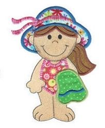 Beach Girl Applique - 4 Sizes! | Beach/Ocean | Machine Embroidery Designs | SWAKembroidery.com Designs by Juju