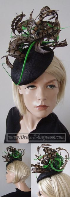 73dda7359ef Black Green and Brown Amherst Pheasant Feathered Beret Headpiece Hat