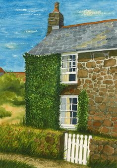 Cornish Cottage Cornish Cottage, Acrylic Paintings, Watercolor, Drawings, Art, Pastel, Pen And Wash, Art Background, Watercolor Painting