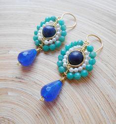 Bluebell gemstone beaded earrings blue green teal cluster