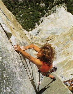 """La escaladora Lynn Hill en el paso conocido como """"changing corner"""""""