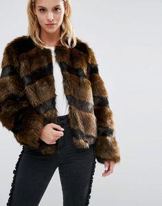 Image 3 ofASOS PETITE Faux Fur Jacket in Chevron Stripe