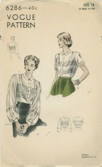 An original ca. 1948 Vogue Pattern 6286.  Blouse. Tuck-in blouse has cluster tucks front and back alternating with optional lace insertion. Buttoned band closing below small flat collar. Gathers at shoulders. Full sleeves gathered at top end above buttoned cuffs and short tucked sleeves.