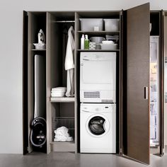 Discover more details on laundry room stackable. Look into our website. Laundry Cupboard, Laundry Closet, Cupboard Storage, Laundry In Bathroom, Cupboard Ideas, Modern Laundry Rooms, Laundry Room Layouts, Laundry Room Remodel, Utility Room Storage