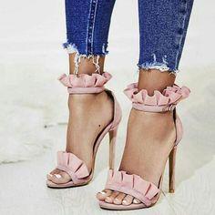 $63.99 ~ Open Toe Stiletto Heel Pink Sandals – AZMODO.COM