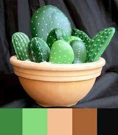 DIY Painting Cactus Rock Art Ideas - Balcony Decoration Ideas in Every Unique Detail Cactus Rock, Stone Cactus, Painted Rock Cactus, Painted Rocks, Cactus Art, Cactus Diys, Cactus Plants, Fake Cactus, Indoor Cactus